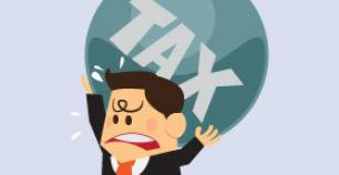 Graphi showing man supporting tax burden